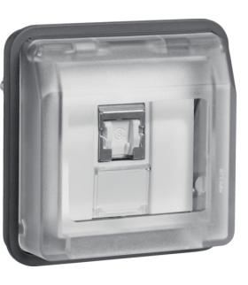 W.1 Moduł gniazdo komputerowe UAE 8-biegunowe z pokrywą, kat. 6/klasa E, szary Berker 14093515