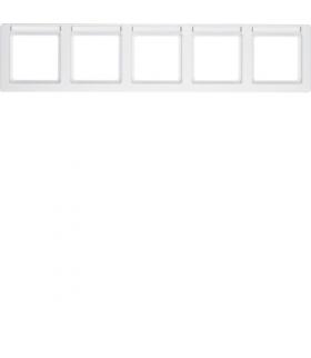 Q.1 Ramka 5-krotna pozioma z polem opisowym, biały, aksamit Berker 10256019