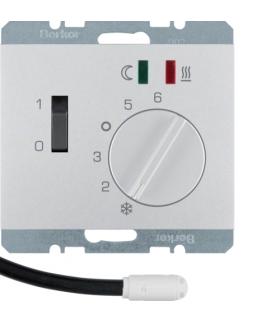 K.5 Regulator temperatury podłogowej z zestykiem zwiernym, elementem centralnym, łącznikiem i 2 diodami LED, alu Berker 20347103