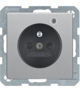 Q.x Gniazdo z uziemieniem z diodą kontrolną LED, z podwyższoną ochroną styków, alu aksamit, lakierowany Berker 6765096084