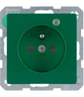 Q.x Gniazdo z uziemieniem z diodą kontrolną LED, z podwyższoną ochroną styków, zielony, aksamit Berker 6765096013