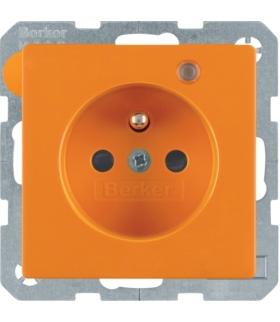 Q.x Gniazdo z uziemieniem z diodą kontrolną LED, z podwyższoną ochroną styków, pomarańczowy, aksamit Berker 6765096014