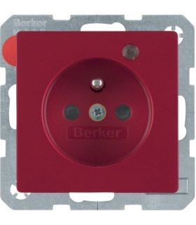 Q.x Gniazdo z uziemieniem z diodą kontrolną LED, z podwyższoną ochroną styków, czerwony, aksamit Berker 6765096015