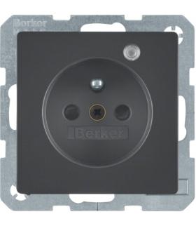 Q.x Gniazdo z uziemieniem z diodą kontrolną LED, z podwyższoną ochroną styków, antracyt, aksamit lakierowany Berker 6765096086