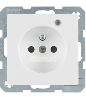 Q.x Gniazdo z uziemieniem z diodą kontrolną LED, z podwyższoną ochroną styków, biały, aksamit Berker 6765096089