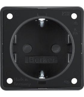 Integro Flow Gniazdo SCHUKO z podwyższona ochroną styków, czarny, mat Berker 947792503