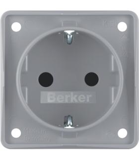 Integro Flow Gniazdo SCHUKO z podwyższona ochroną styków, szary, mat Berker 947792506
