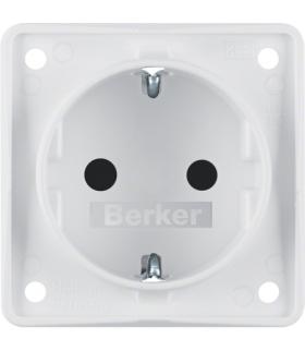 Integro Flow Gniazdo SCHUKO z podwyższona ochroną styków, biały, mat Berker 947792502
