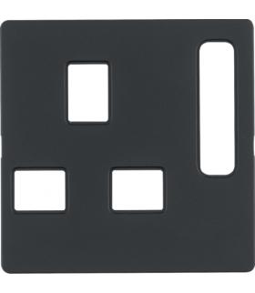 Q.x Płytka czołowa do gniazda z uziemieniem standard brytyjski, antracyt, aksamit Berker 3313076086