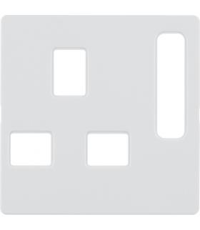 Q.x Płytka czołowa do gniazda z uziemieniem standard brytyjski, biały, aksamit Berker 3313076089