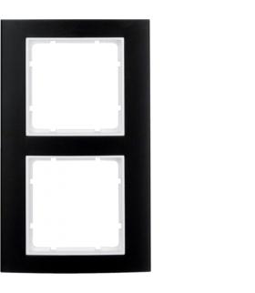 B.3 Ramka 2-krotna, alu, czarny/biały Berker 10123025