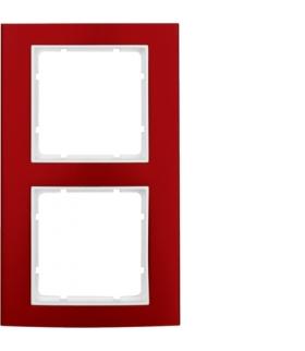B.3 Ramka 2-krotna, alu, czerwony/biały Berker 10123022