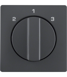 Q.x Płytka czołowa z pokrętłem do łącznika 3-pozycyjnego bez pozycji zerowej i nadrukiem, antracyt, aksamit Berker 10846086