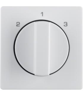 Q.x Płytka czołowa z pokrętłem do łącznika 3-pozycyjnego bez pozycji zerowej i nadrukiem, biały, aksamit Berker 10846089
