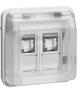 W.1 Moduł gniazdo komputerowe 2-kr UAE 8/8-biegunowe z pokrywą, kat. 6/klasa E IP55, biały Berker 14103502