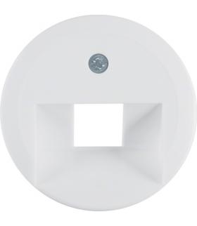 Serie 1930/Glas Płytka czołowa do gniazda przyłączeniowego UAE 1-kr komputerowego i telefonicznego, biały Berker 1407