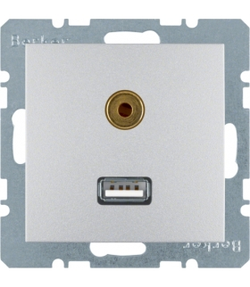 B.Kwadrat/B.7 Gniazdo USB/3,5mm audio, alu, mat Berker 3315391404
