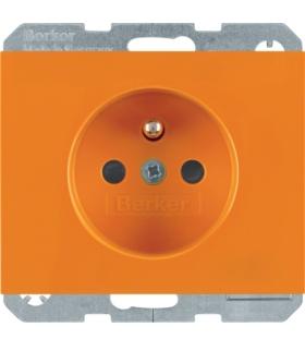 K.1 Gniazdo z uziemieniem i LED kontrolną z podwyższoną ochroną styków, pomarańczowy, połysk Berker 6765097014