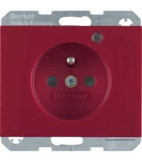 K.1 Gniazdo z uziemieniem i LED kontrolną z podwyższoną ochroną styków, czerwony, połysk Berker 6765097015