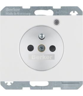 K.1 Gniazdo z uziemieniem i LED kontrolną z podwyższoną ochroną styków, biały, połysk Berker 6765097009