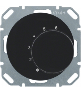 R.1/R.3 Regulator temperatury pomieszczenia ze stykiem zmiennym i elementem centralnym, czarny, połysk Berker 20262045
