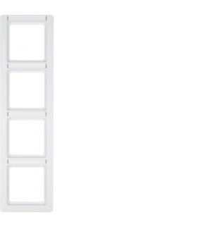 Q.1 Ramka 4-krotna pionowa z polem opisowym, biały, aksamit Berker 10146019