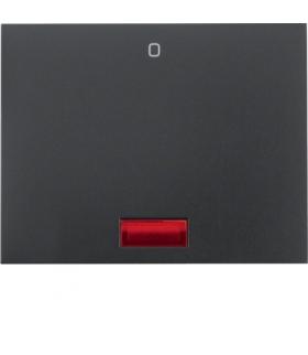 """K.1 Klawisz z czerwoną soczewką z nadrukiem """"0"""" do łącznika 1-klawiszowego, antracyt mat, lakierowany Berker 14177106"""