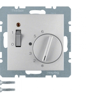 B.x Regulator temperatury pomieszczenia 24 V ze stykiem zwiernym, elementem centralnym, łącznikiem i diodą, alu Berker 20311404