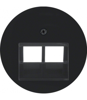 R.x Płytka czołowa do gniazda przyłączeniowego UAE 2-kr komputerowego i telefonicznego, czarny, połysk Berker 14092045