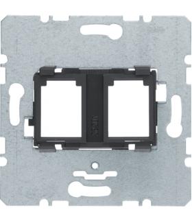one.platform Płytka nośna podwójna z czarnym elementem mocującym, mechanizm Berker 454202