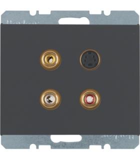 K.1 Gniazdo 3xCinch/S-Video, antracyt, mat Berker 3315327006