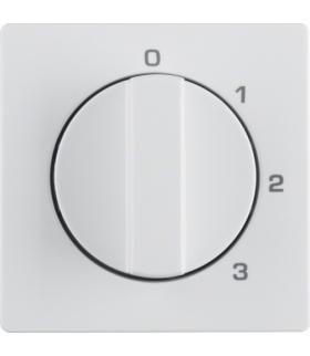 Q.x Płytka czołowa z pokrętłem do łącznika 3-pozycyjnego z pozycją zerową i nadrukiem, biały, aksamit Berker 10966089