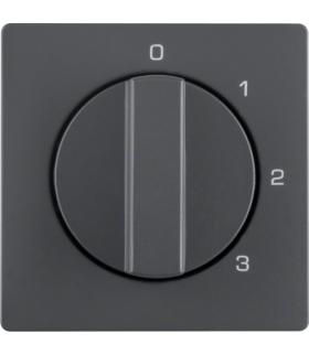 Q.x Płytka czołowa z pokrętłem do łącznika 3-pozycyjnego z pozycją zerową i nadrukiem, antracyt, aksamit Berker 10966086