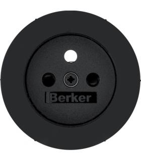 R.1/R.3 Płytka czołowa z przysłonami styków do gniazda z uziemieniem, czarny, połysk Berker 3965762045