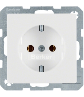 Q.x Gniazdo SCHUKO kompletne, samozaciski, biały, aksamit Berker 47436089