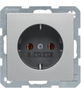 Q.x Gniazdo SCHUKO kompletne, samozaciski, alu aksamit, lakierowany Berker 47436084