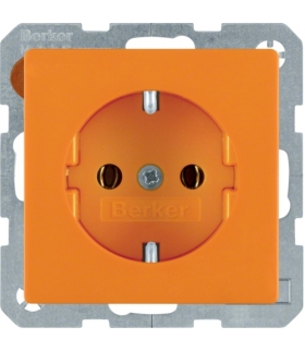 Q.x Gniazdo SCHUKO kompletne, samozaciski, pomarańczowy, aksamit Berker 47436014