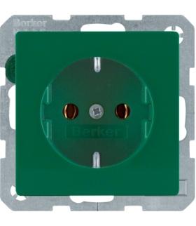 Q.x Gniazdo SCHUKO kompletne, samozaciski, zielony, aksamit Berker 47436013