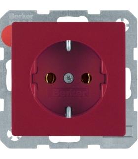 Q.x Gniazdo SCHUKO kompletne, samozaciski, czerwony, aksamit Berker 47436012