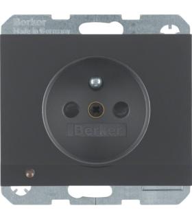 K.1 Gniazdo z uziemieniem i podświetleniem orientacyjnym LED, antracyt, mat Berker 6765107006