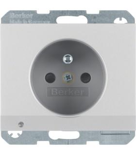 K.5 Gniazdo z uziemieniem i podświetleniem orientacyjnym LED, alu Berker 6765107003