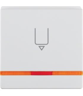 Q.x Nasadka do łącznika na kartę hotelową z nadrukiem i pomarańczową soczewką, biały, aksamit Berker 16406089