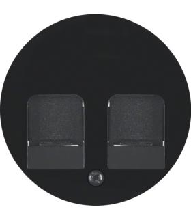 R.1/R.3 Płytka czołowa z zasuwami chroniącymi przed kurzem z polem opisowym, czarny, połysk Berker 11812045