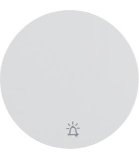 """R.1/R.3 Klawisz z nadrukiem symbolu """"dzwonek"""" do łącznika klawiszowego pojedynczego, biały, połysk Berker 16202069"""