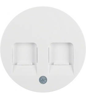 R.1/R.3 Płytka czołowa z zasuwami chroniącymi przed kurzem z polem opisowym, biały, połysk Berker 11812089
