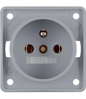 Integro Flow Gniazdo z uziemieniem, szary, mat Berker 961852506