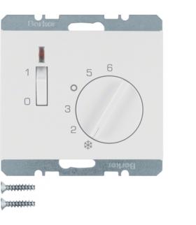 K.1 Regulator temperatury pomieszczenia z zestykiem zwiernym, elementem centralnym, łącznikiem i diodą, biały Berker 20307109