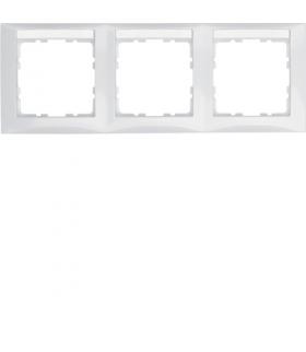 B.Kwadrat Ramka 3-krotna pozioma z polem opisowym, biały, połysk Berker 10238919