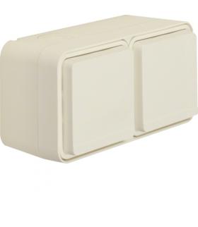 W.1 Gniazdo SCHUKO 2P+Z 2-kr poziome 2 wejścia, kompletne, IP55, biały Berker 47843512
