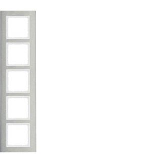 B.7 Ramka 5-krotna pionowa, stal szlachetna/biały mat Berker 10153609